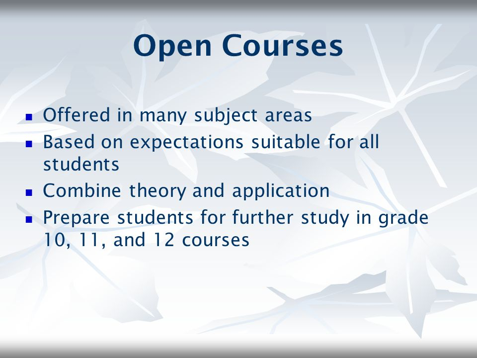 Open Courses Offered in many subject areas