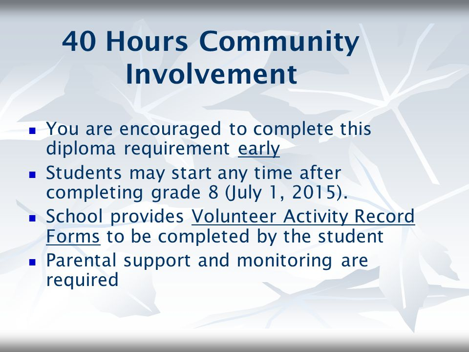 40 Hours Community Involvement