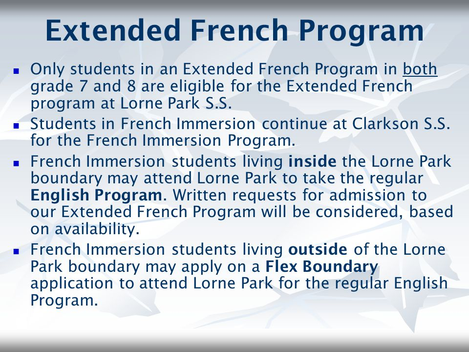 Extended French Program