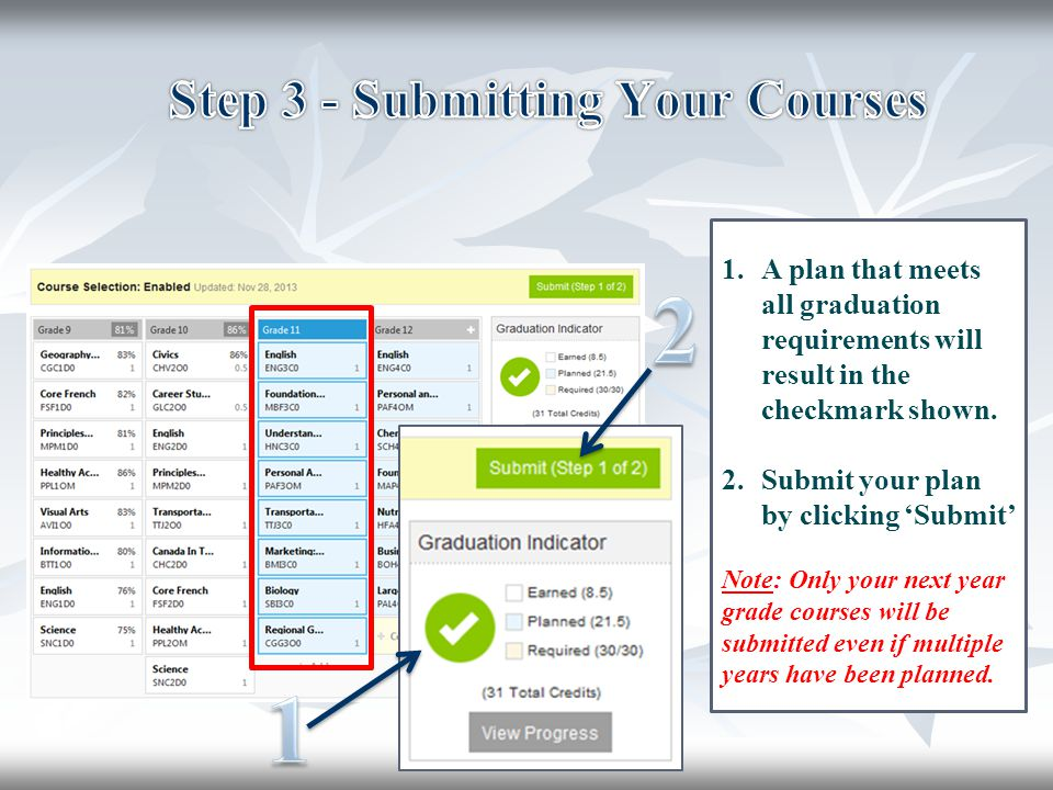 Step 3 - Submitting Your Courses