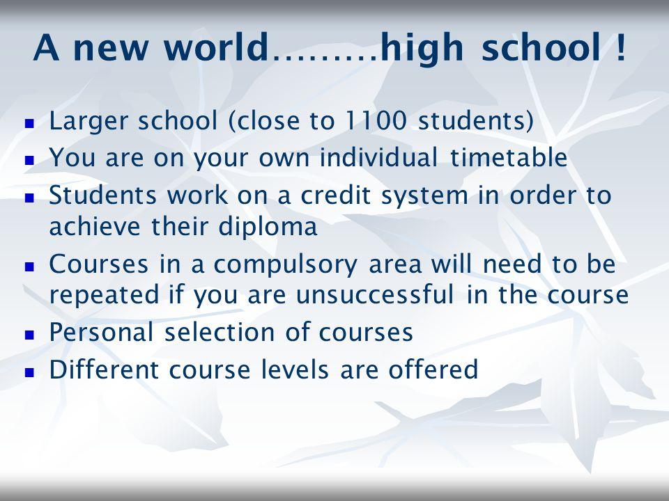 A new world………high school !