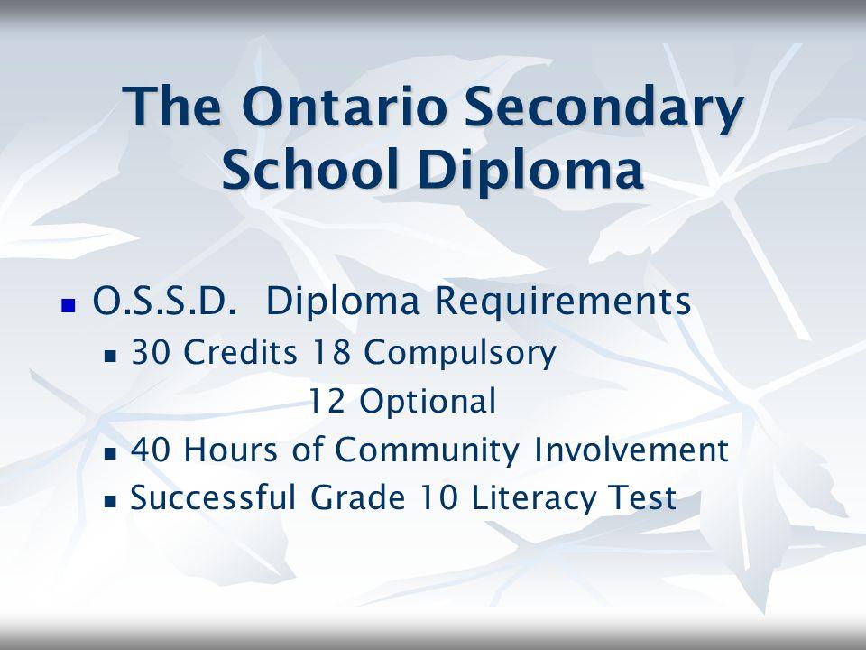 The Ontario Secondary School Diploma