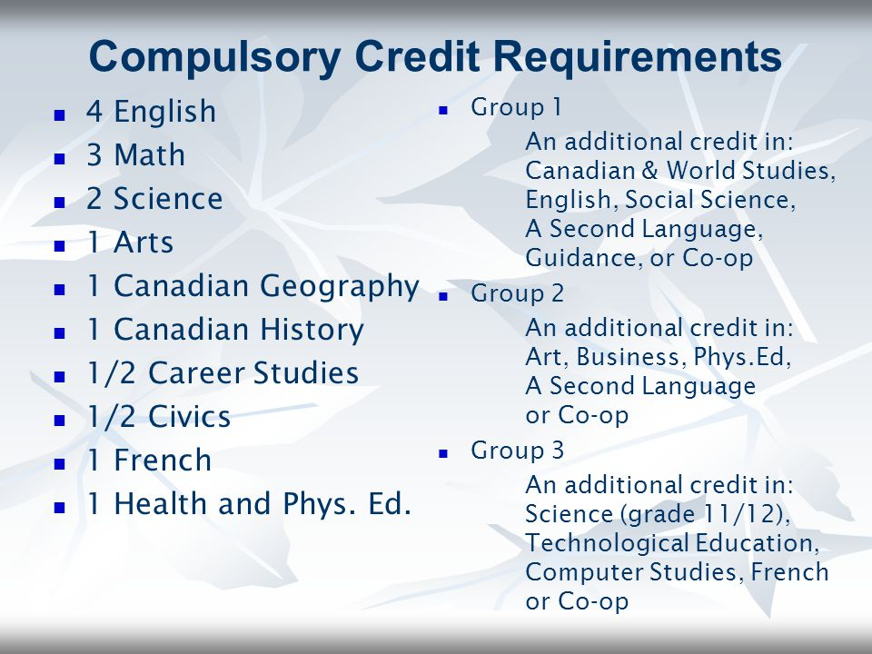 Compulsory Credit Requirements
