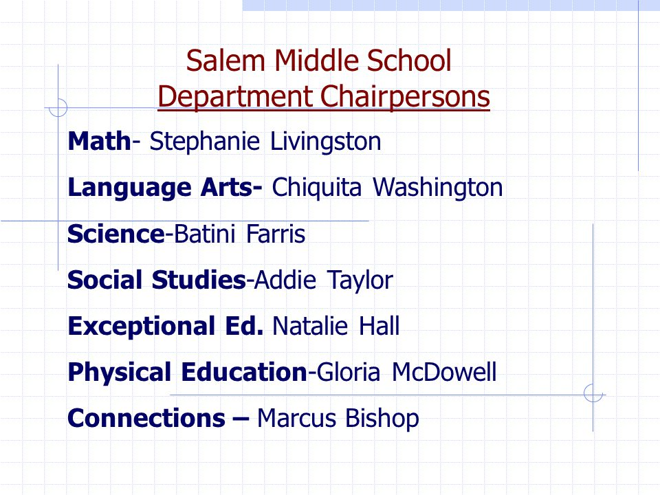 Salem Middle School Department Chairpersons