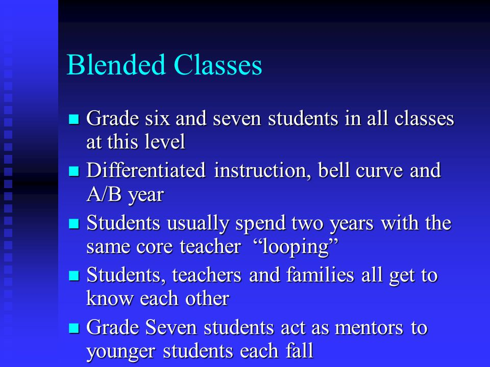 Blended Classes Grade six and seven students in all classes at this level. Differentiated instruction, bell curve and A/B year.