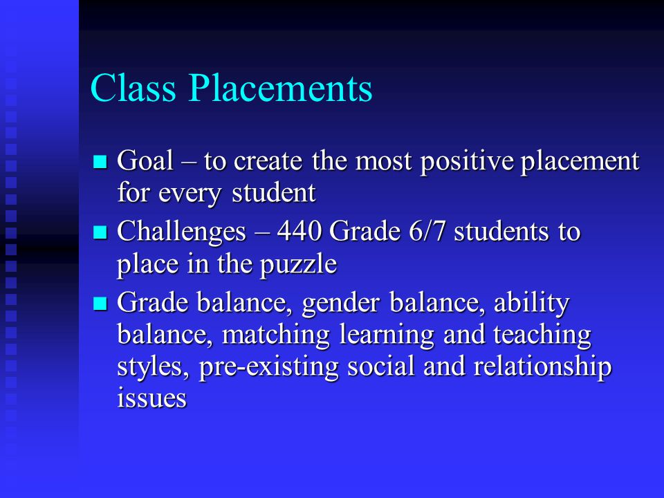 Class Placements Goal – to create the most positive placement for every student. Challenges – 440 Grade 6/7 students to place in the puzzle.