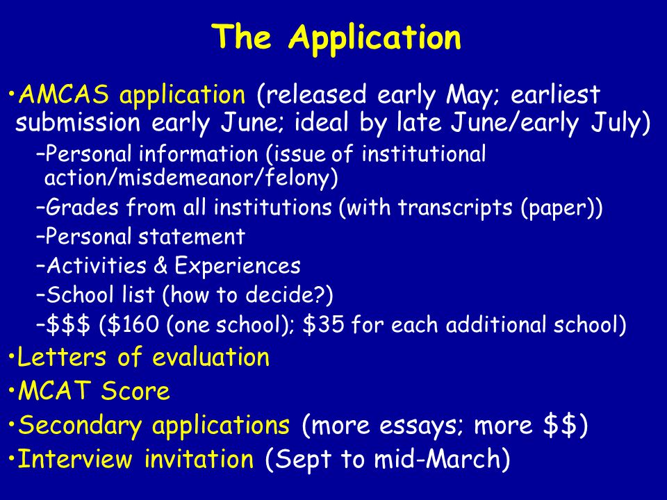 The Application AMCAS application (released early May; earliest submission early June; ideal by late June/early July)