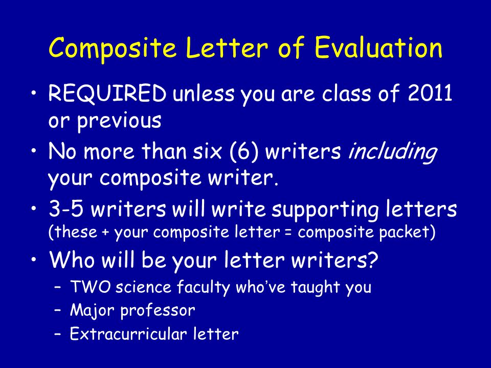 Composite Letter of Evaluation