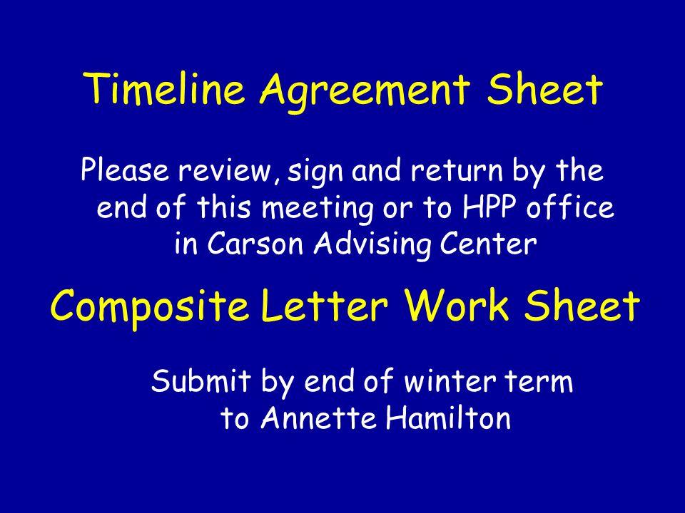 Timeline Agreement Sheet