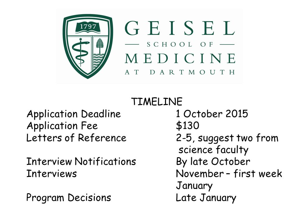 TIMELINE Application Deadline 1 October 2015. Application Fee $130. Letters of Reference 2-5, suggest two from science faculty.