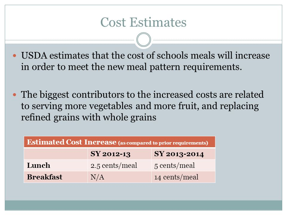Cost Estimates USDA estimates that the cost of schools meals will increase in order to meet the new meal pattern requirements.