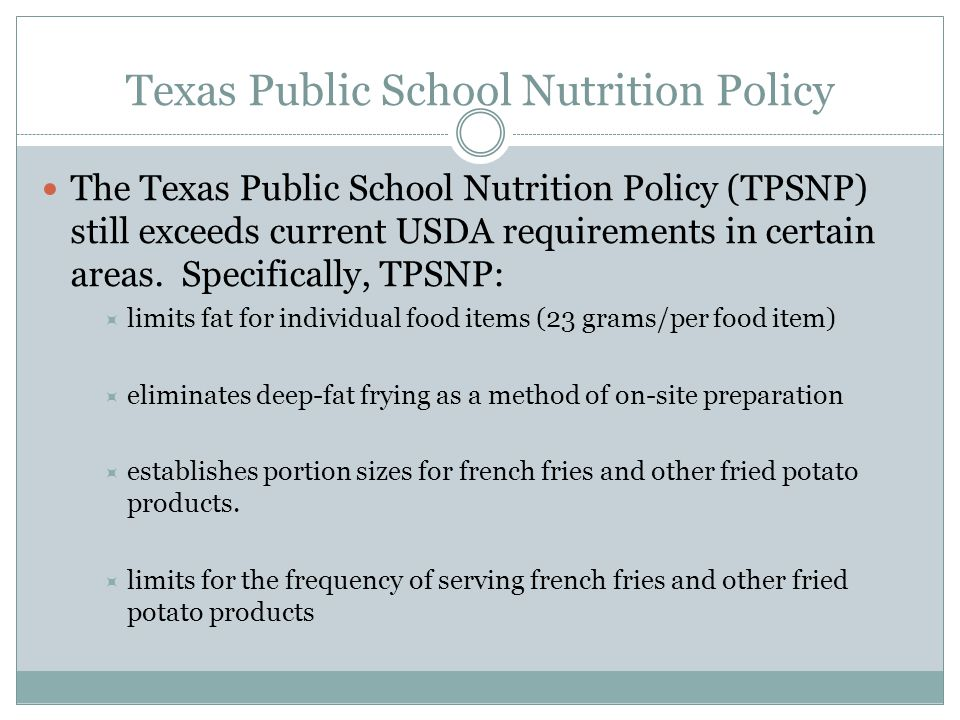 Texas Public School Nutrition Policy
