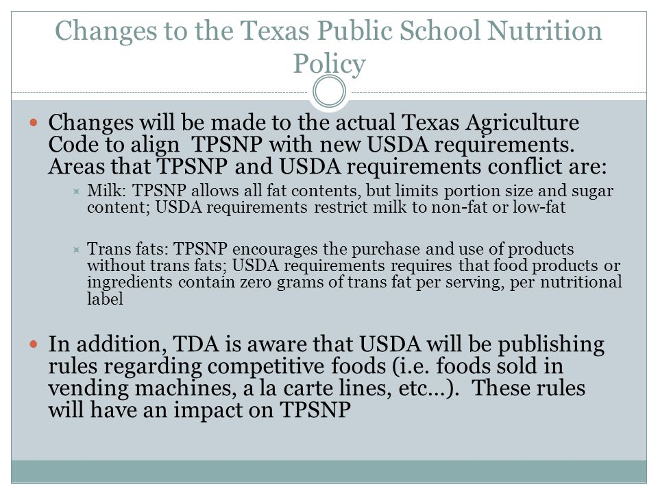 Changes to the Texas Public School Nutrition Policy