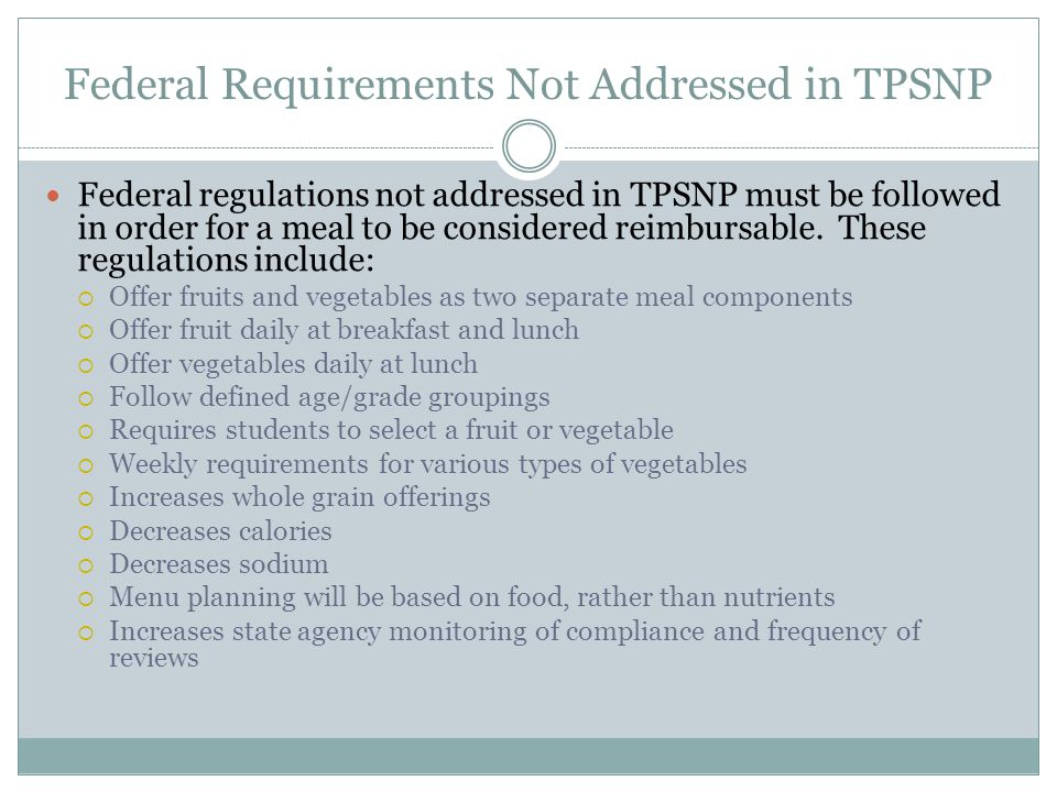 Federal Requirements Not Addressed in TPSNP