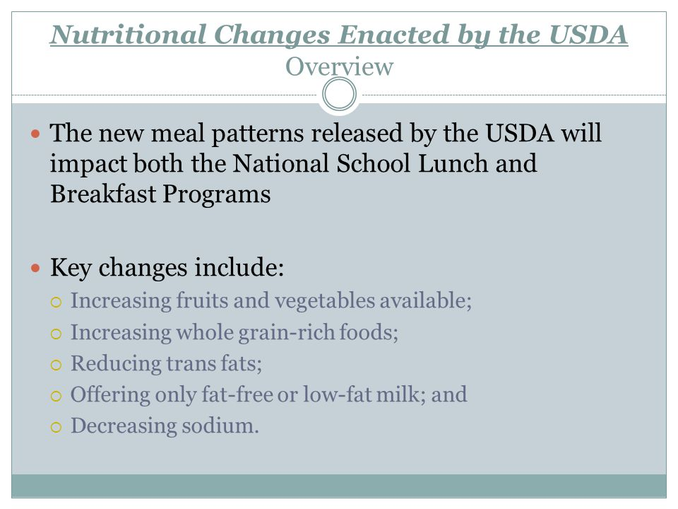 Nutritional Changes Enacted by the USDA Overview