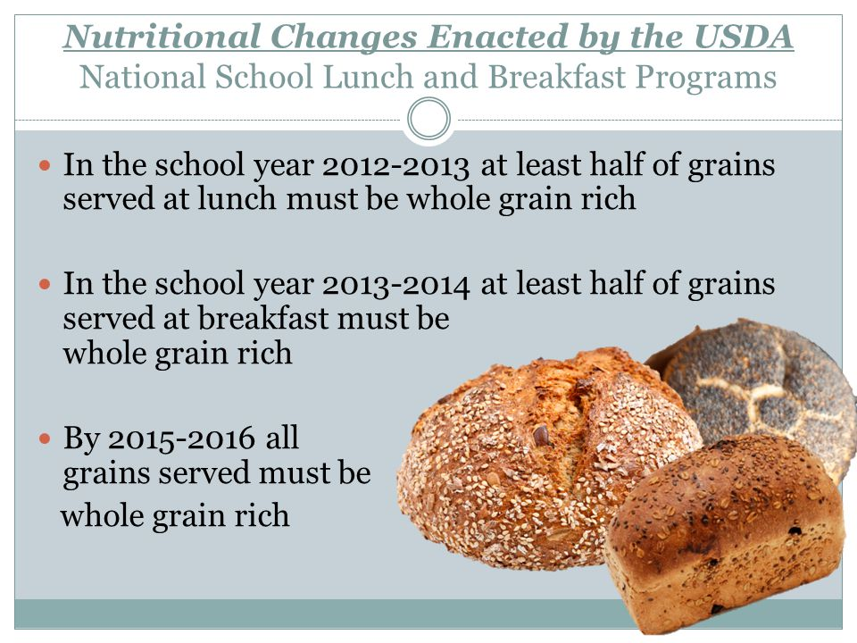 Nutritional Changes Enacted by the USDA National School Lunch and Breakfast Programs