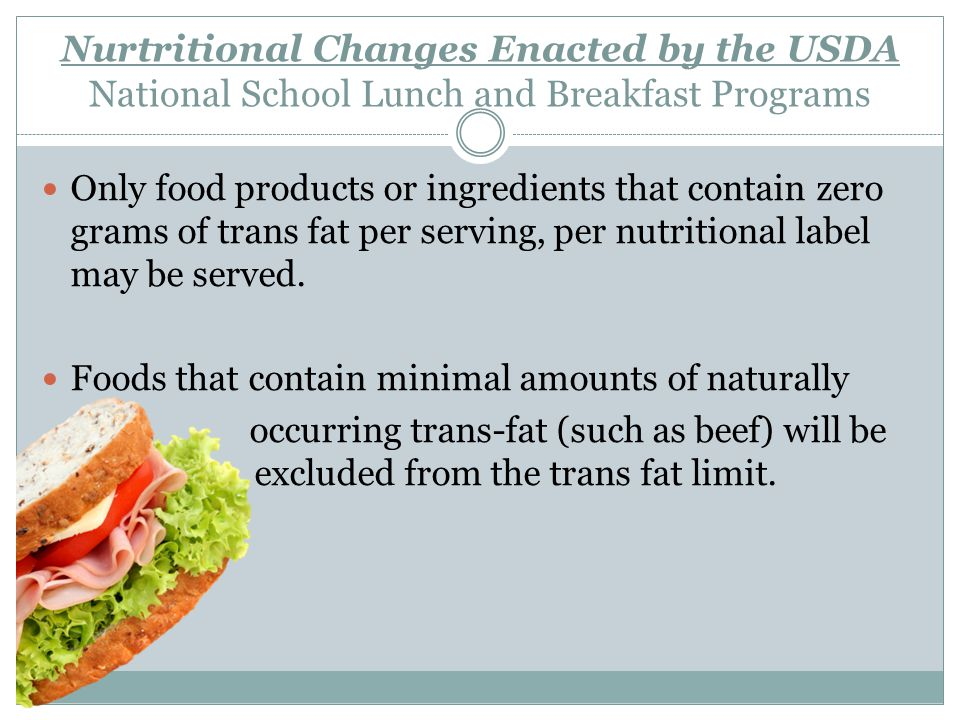 Nurtritional Changes Enacted by the USDA National School Lunch and Breakfast Programs