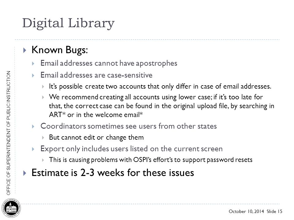 Digital Library Known Bugs: Estimate is 2-3 weeks for these issues