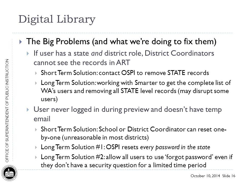 Digital Library The Big Problems (and what we're doing to fix them)