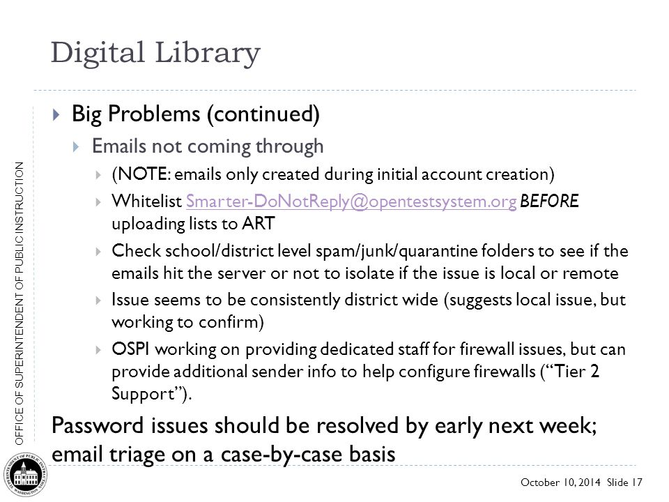 Digital Library Big Problems (continued)