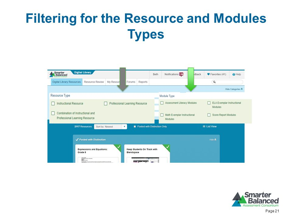 Filtering for the Resource and Modules Types