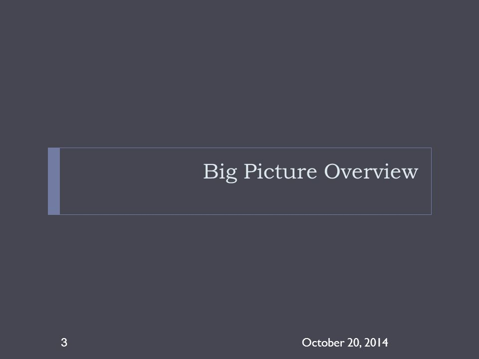 4/8/2017 Big Picture Overview October 20, 2014