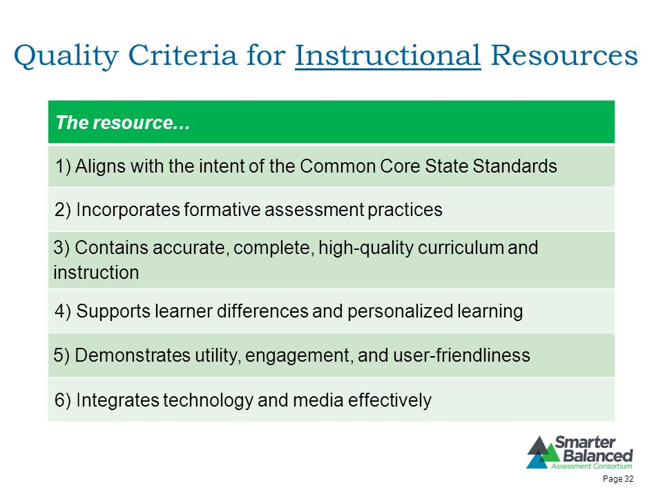 Quality Criteria for Instructional Resources