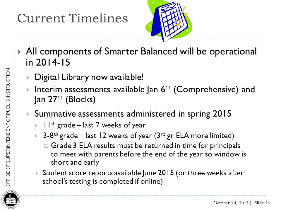 Current Timelines All components of Smarter Balanced will be operational in 2014-15. Digital Library now available!