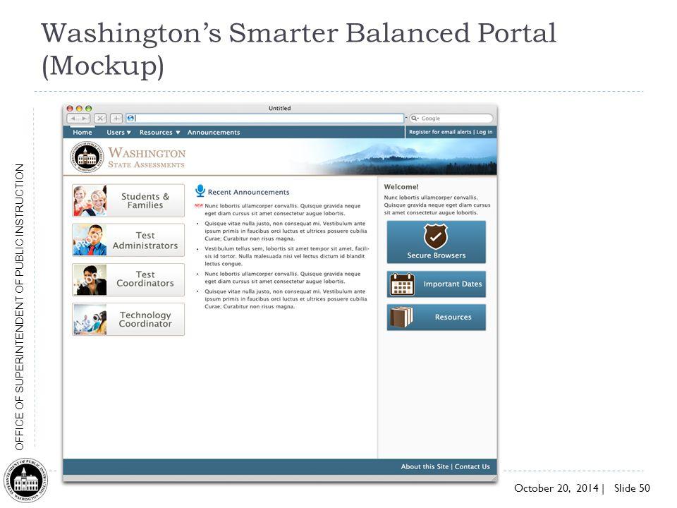Washington's Smarter Balanced Portal (Mockup)
