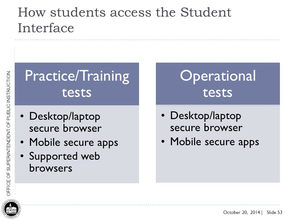 How students access the Student Interface