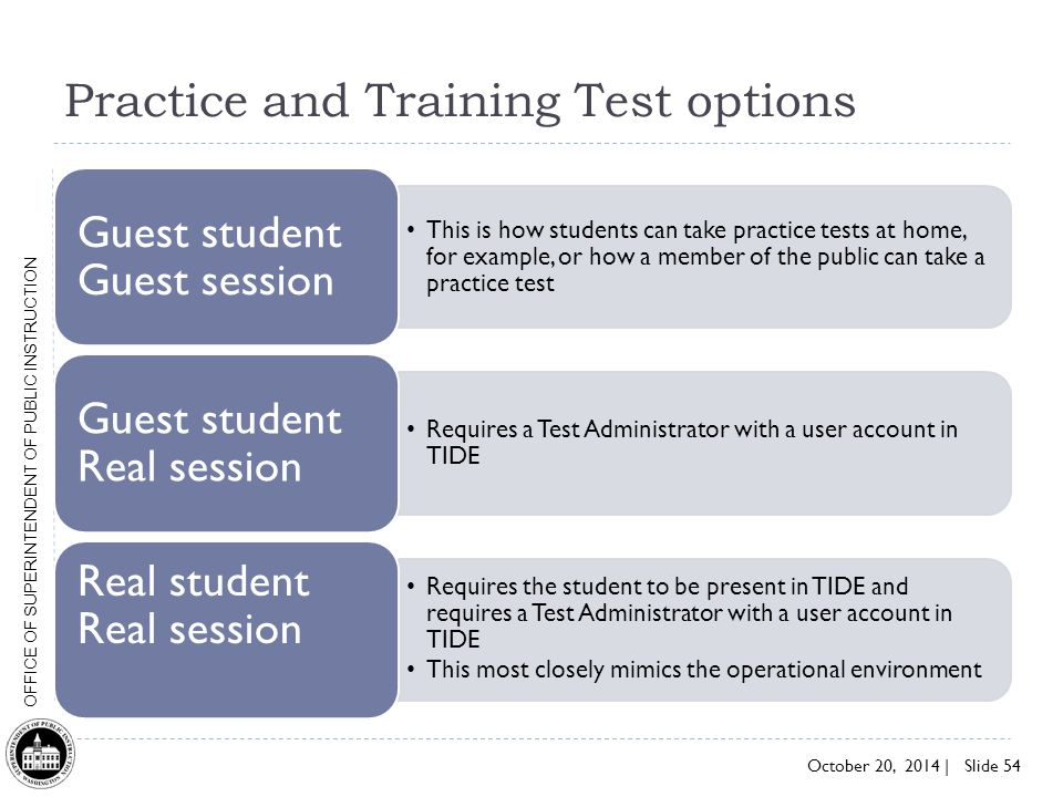 Practice and Training Test options