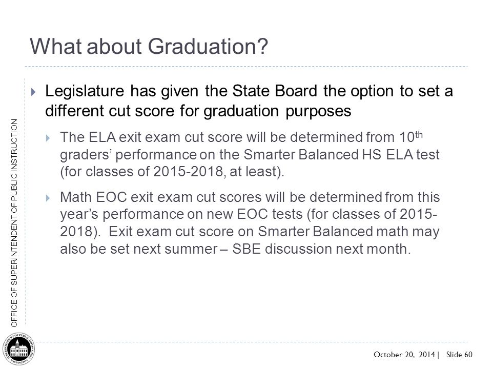 What about Graduation Legislature has given the State Board the option to set a different cut score for graduation purposes.