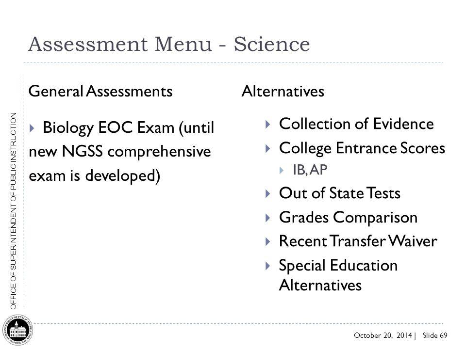 Assessment Menu - Science