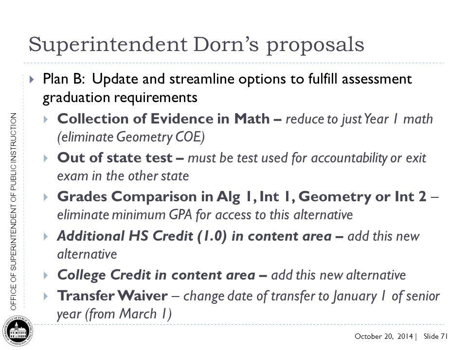 Superintendent Dorn's proposals