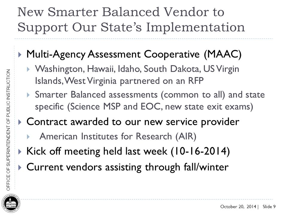 New Smarter Balanced Vendor to Support Our State's Implementation