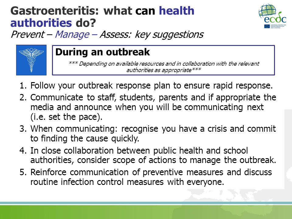 Gastroenteritis: what can health authorities do