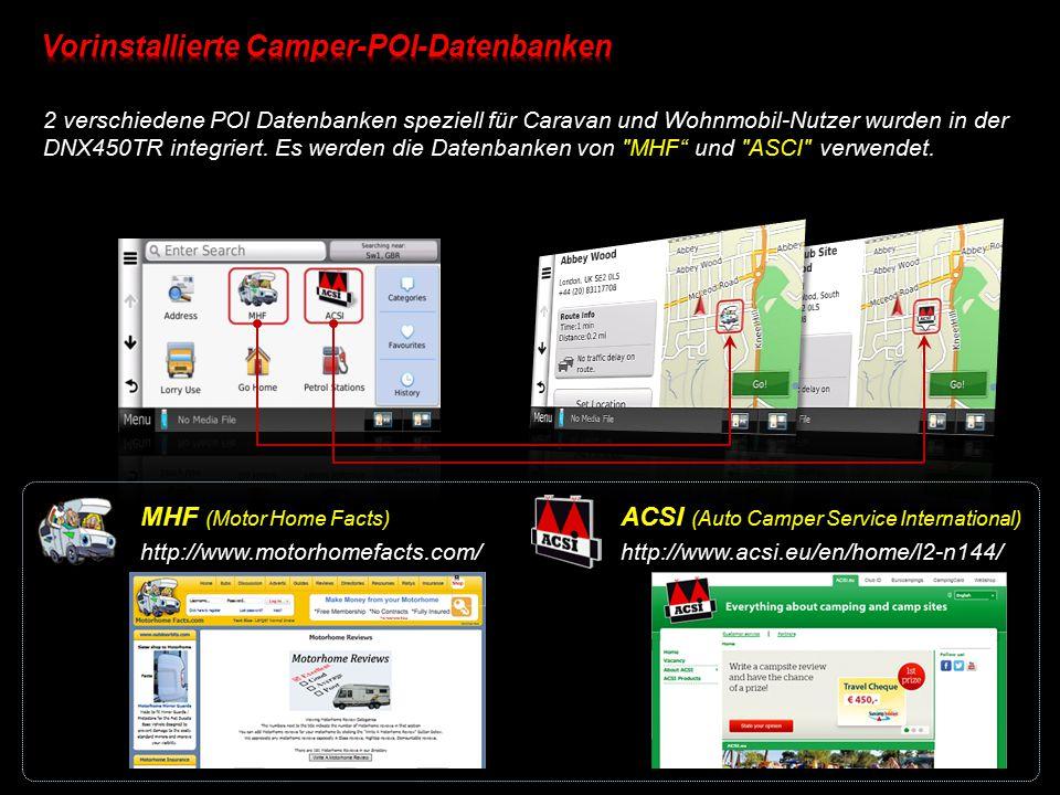 Vorinstallierte Camper-POI-Datenbanken