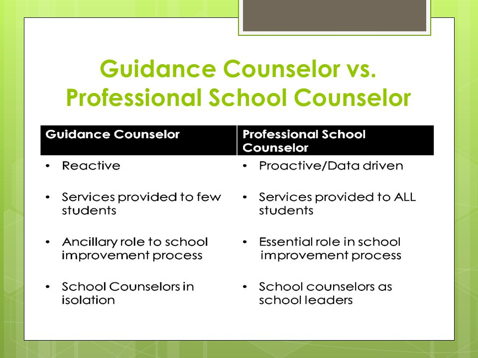 Guidance Counselor vs. Professional School Counselor