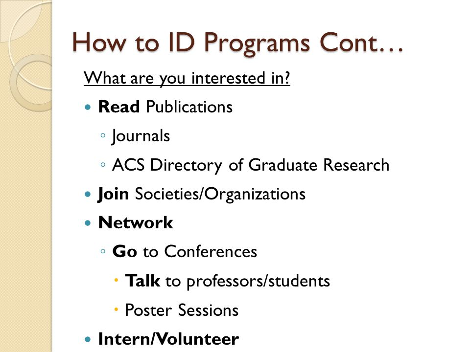 How to ID Programs Cont…