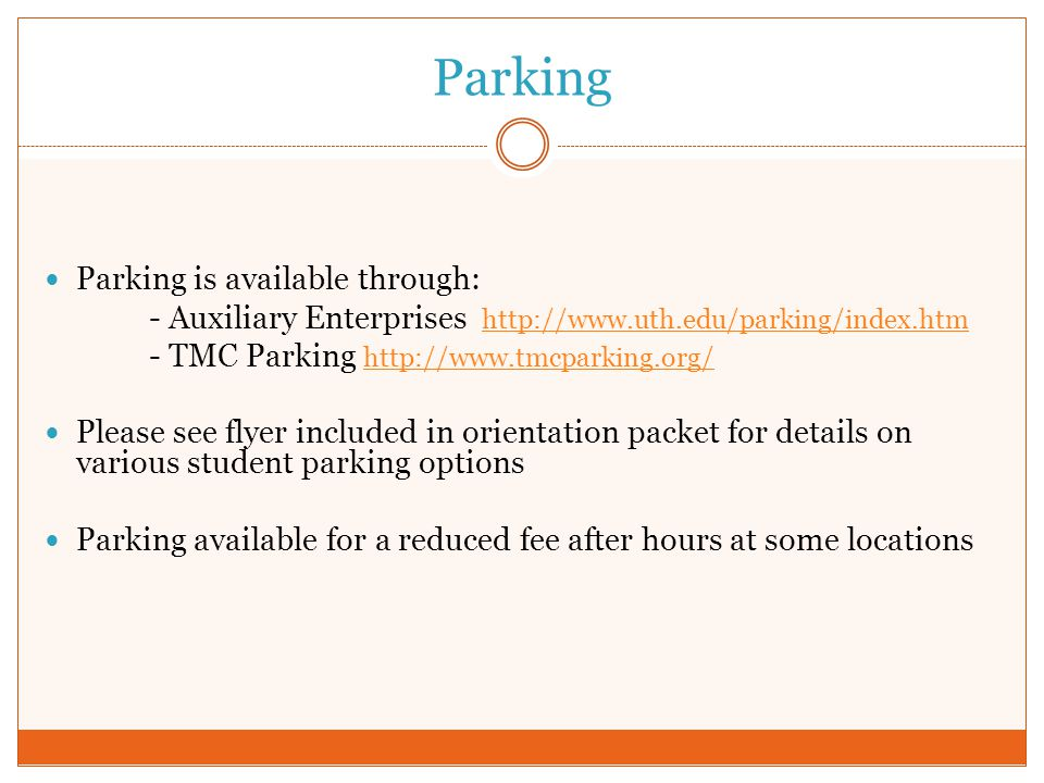 Parking Parking is available through:
