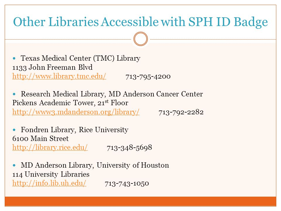 Other Libraries Accessible with SPH ID Badge