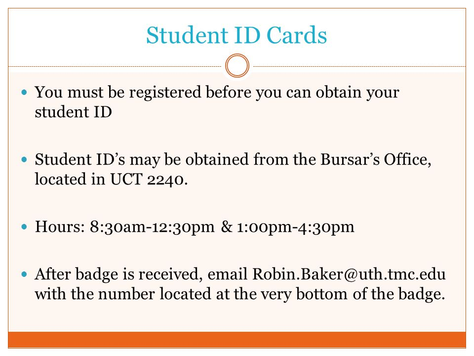 Student ID Cards You must be registered before you can obtain your student ID.