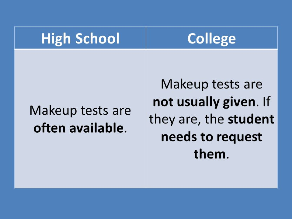 Makeup tests are often available.