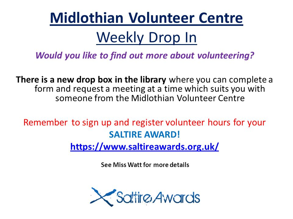 Midlothian Volunteer Centre Weekly Drop In