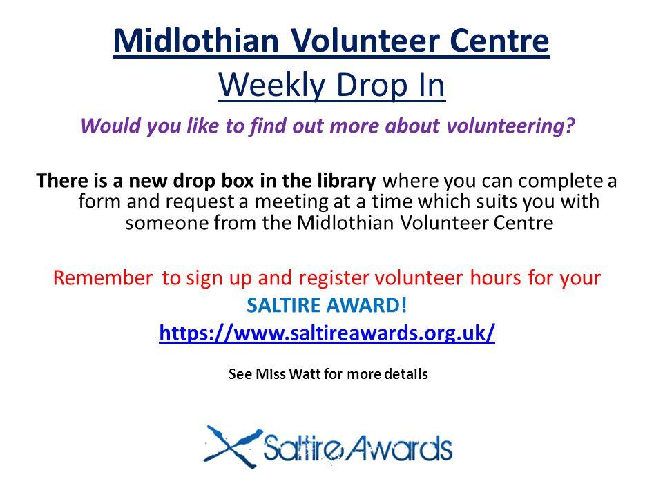 Midlothian Volunteer Centre Weekly Drop In