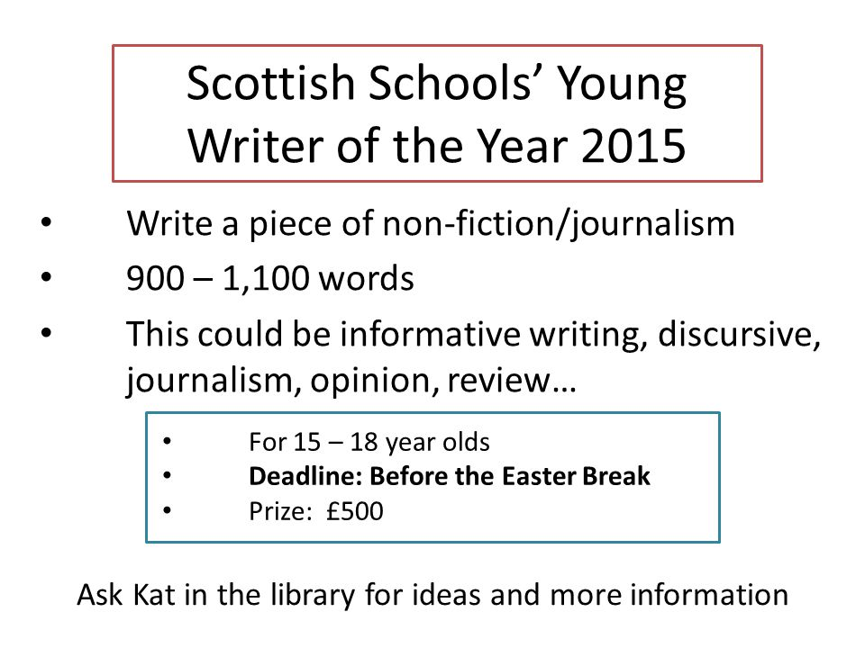 Scottish Schools' Young Writer of the Year 2015