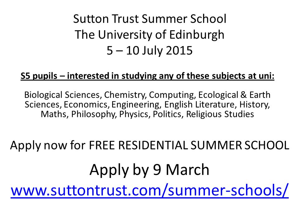 S5 pupils – interested in studying any of these subjects at uni: