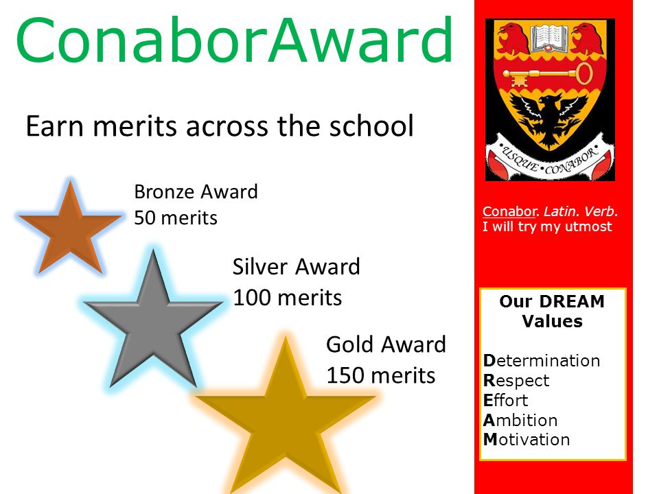 ConaborAward Earn merits across the school Silver Award 100 merits