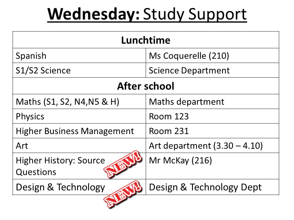 Wednesday: Study Support