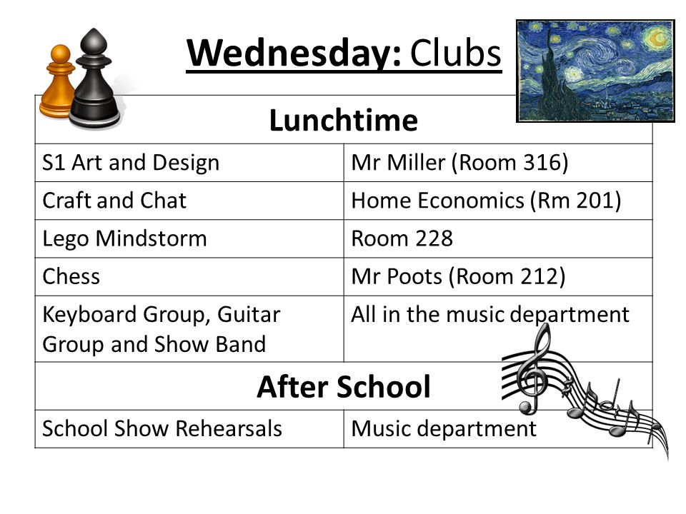 Wednesday: Clubs Lunchtime After School S1 Art and Design
